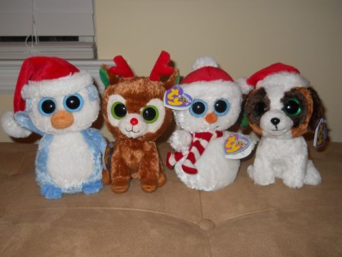 da92815c585 Ty Beanie Boos Set of 4 Holiday Boos Scoops Comet Fairbanks Presents Mint
