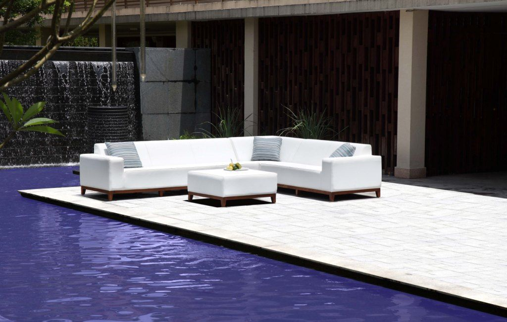 Marine Grade Leather Outdoor Furniture. Small Print Does Say Itu0027s Man Made  Leather (pleather