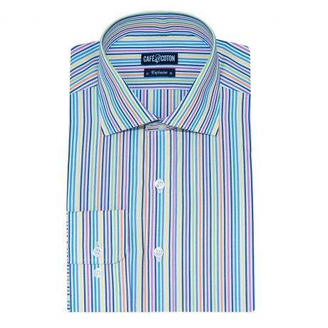 Chemise coupe cintrée à rayures multicolores - Café Coton #chemise #chemisehomme http://www.cafecoton.fr/nouveaux-cols/11010-chemise-coupe-cintree-a-rayures-multicolores.html