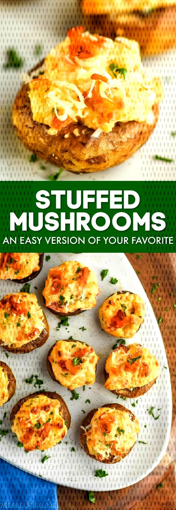 Cream Cheese Stuffed Mushrooms - Wine amp Glue Stuffed Mushrooms are a great appetizer for parties.