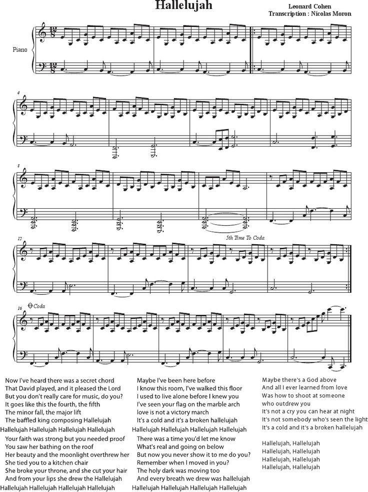 Hallelujah Cohen Rufus Wainwright Shrek Best Sheet Music