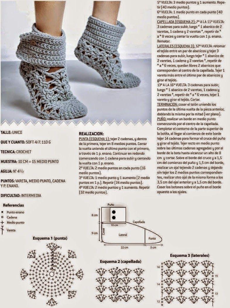 As Receitas de Crochê: Bota de crochê para adulto   creative ...