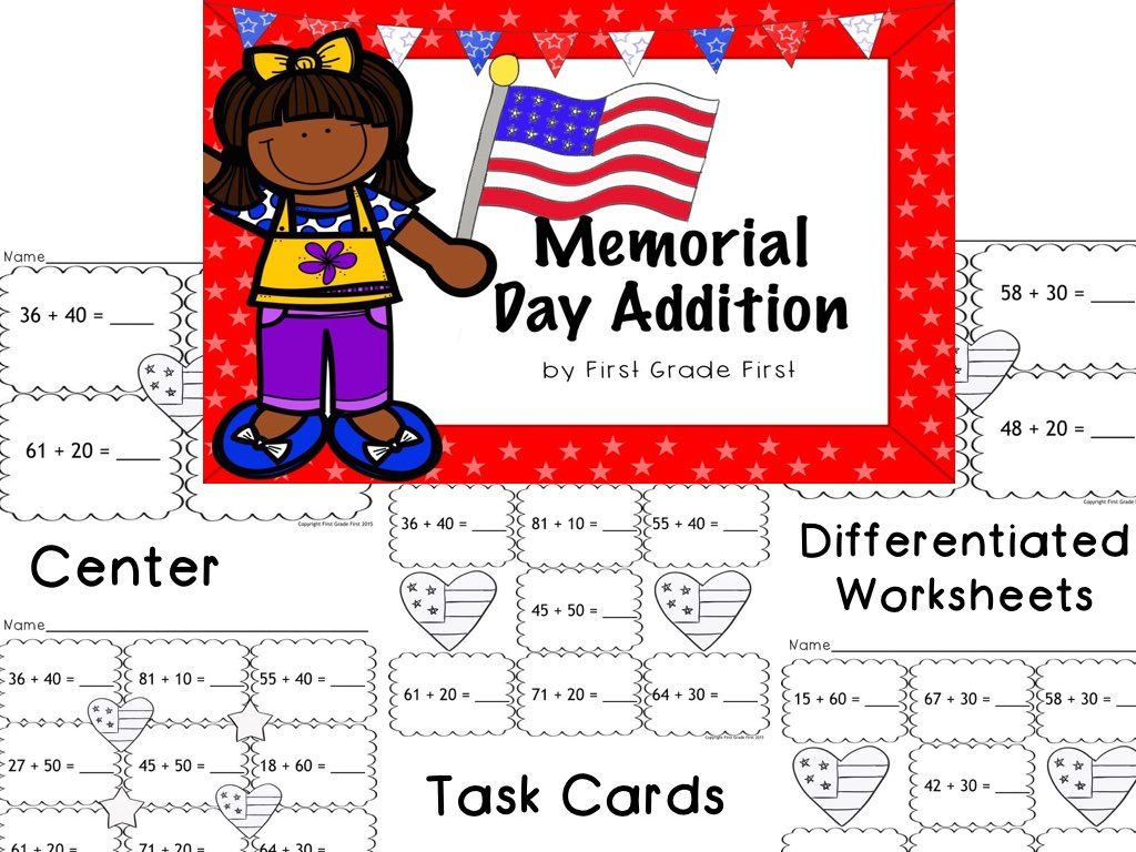 Patriotic Math Center Worksheets And Task Cards To