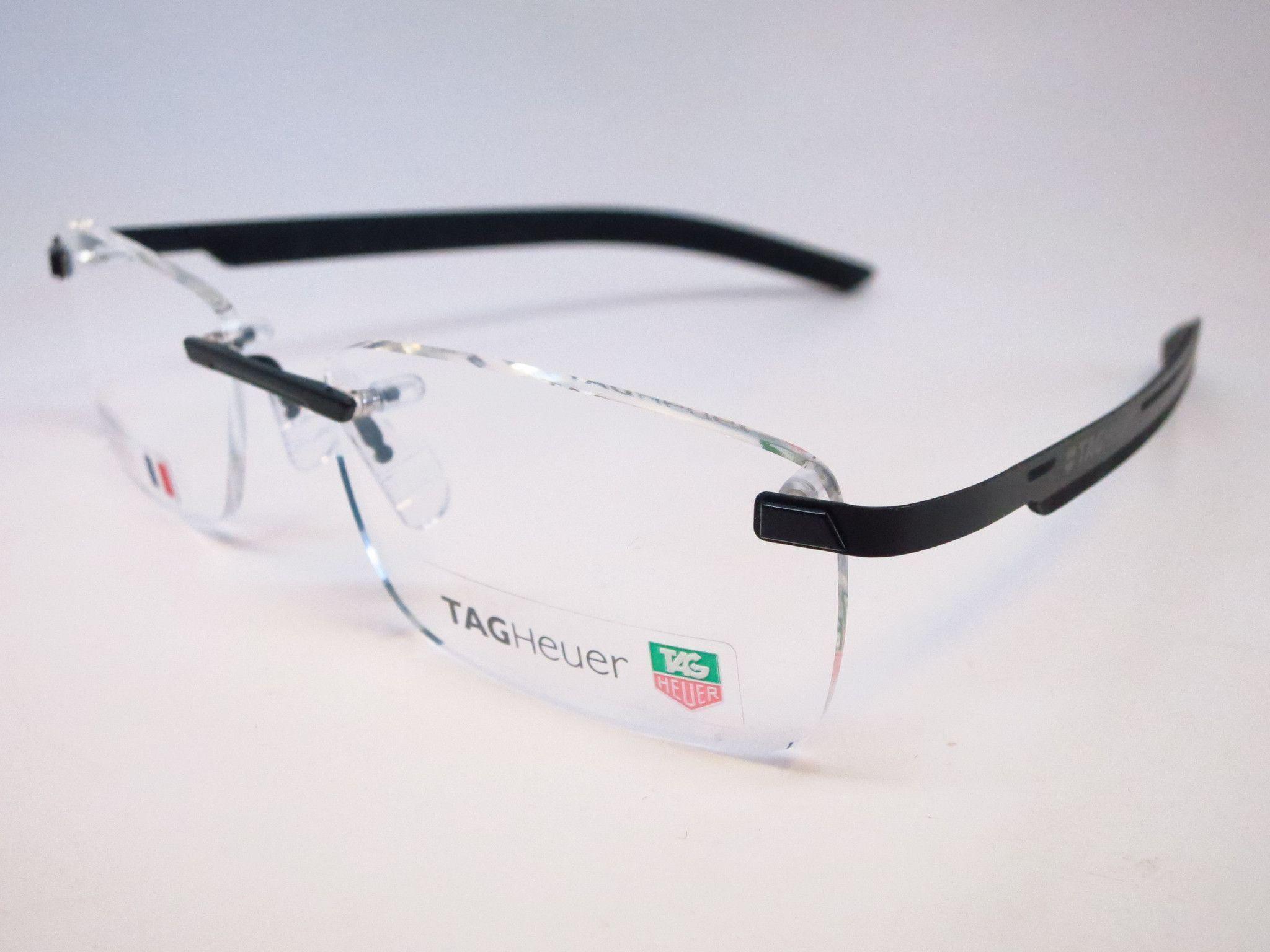 tag heuer th 3842 001 black line rimless eyeglasses