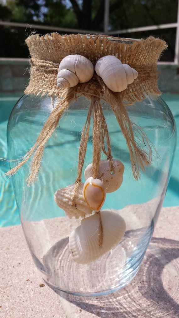 Seashell Vase Burlap Vase Beach Vase Decorative Vase Beach Dcor