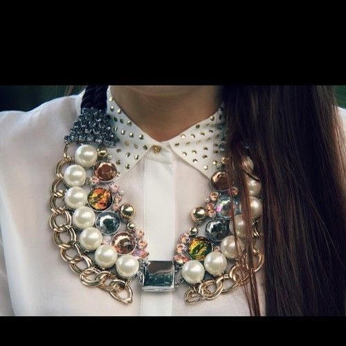 H Trend Collection Lana Del Rey Pearl Rhinestone Gold Statement Necklace