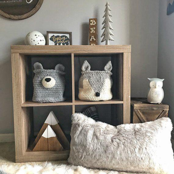 Grey Fox basket | crochet basket | fox Nursery decor | woodland nursery camping room decor