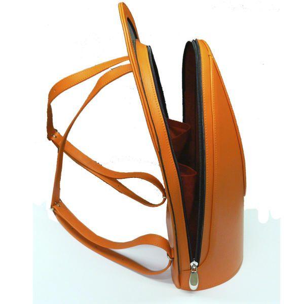 Orange Leather Back Pack  e3a01cb347
