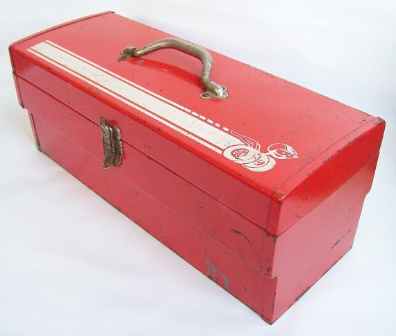 Gifts for Mechanics Vintage Tool Box Red Metal Tool Box Garage Storage Tool Chest Industrial Storage Metal Tool Box