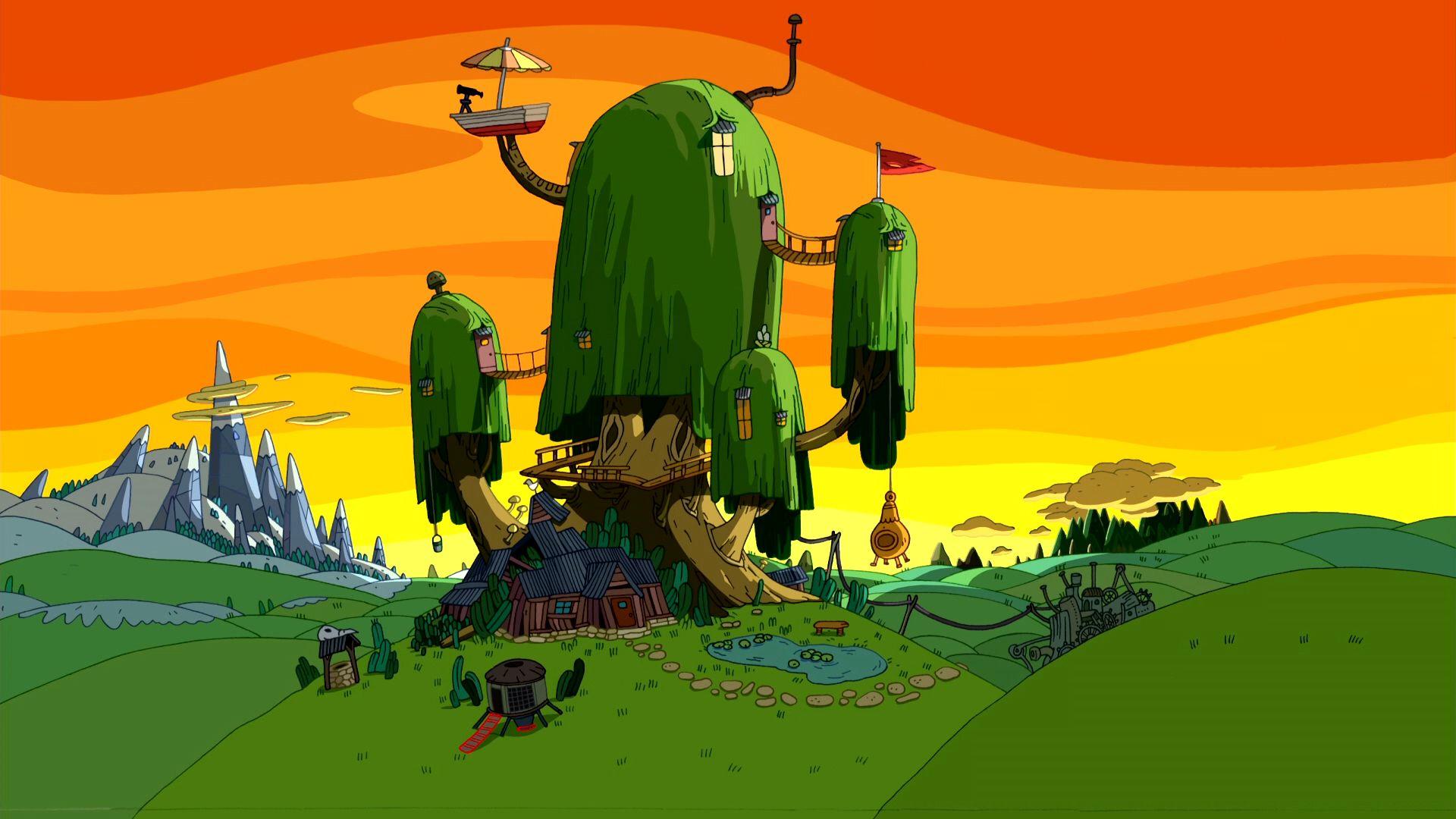 S01e06 Sunset Treehouse Adventure Time Wallpaper Adventure Time Background Adventure Time Scenery