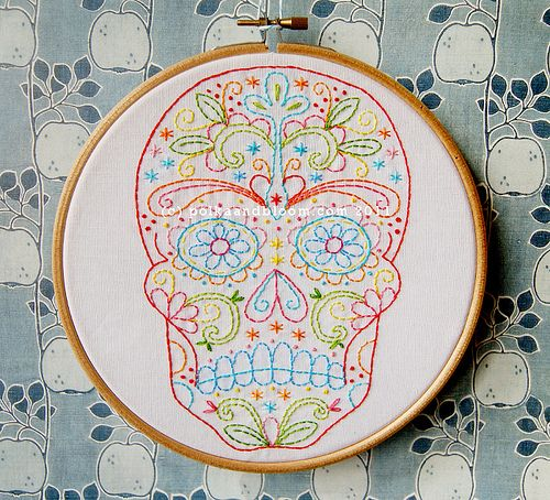 Calavera Embroidery Pattern Vintage Pinterest Embroidery