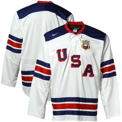 Nike USA White IIHF Throwback Hockey Jersey  124.95 Team Usa Hockey fe24c8f7358