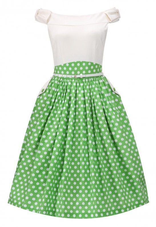 Krémovo-zelené retro šaty s puntíky Živůtek s lodičkovým výstřihem tvoří  silnější elastický materiál (60% viskóza 66af371f7a