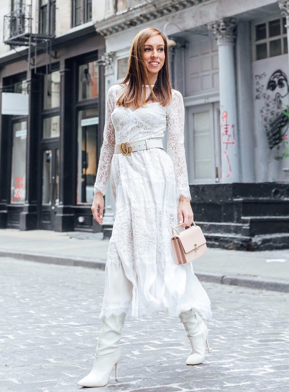 Winter White Outfit At New York Fashion Week 2019 Sydne Style Fashion Winter White Outfit Lace White Dress [ 2284 x 1680 Pixel ]