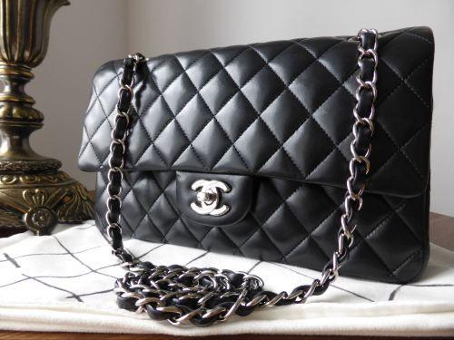 7eb75e0bb68fbd Chanel Classic 2.55 Medium Double Flap Black Lambskin with Silver Hardware  > http:/