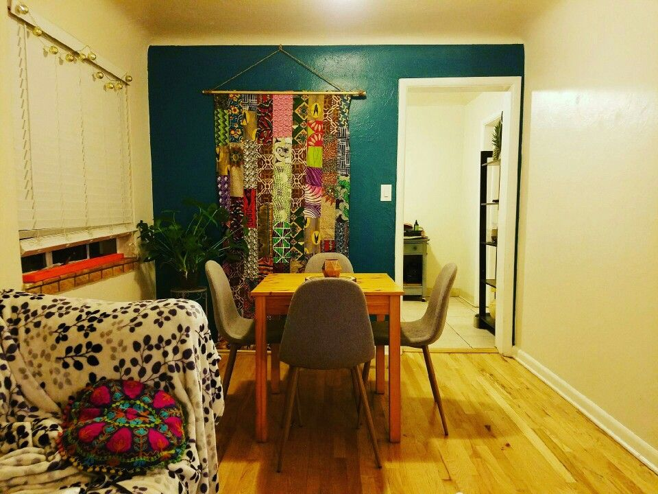 Bold, Moody teal wall. Bright accents and mid-modern touches. Behr ...