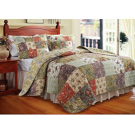 BLOOMING PRAIRIE 3pc Queen Quilt Set Floral Shabby French Chic Reversible Patch
