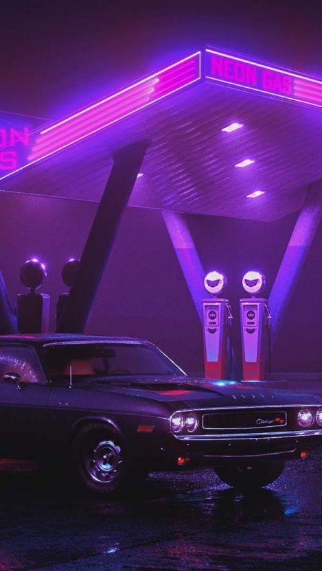Neon Gas Station Dodge Challenger iPhone Wallpaper ...