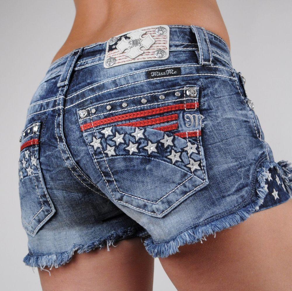 77d6625abb Miss Me Jeans Shorts American Flag Stars and Stripes Americana 25 26 27 28  29 30 #MissMe #Denim