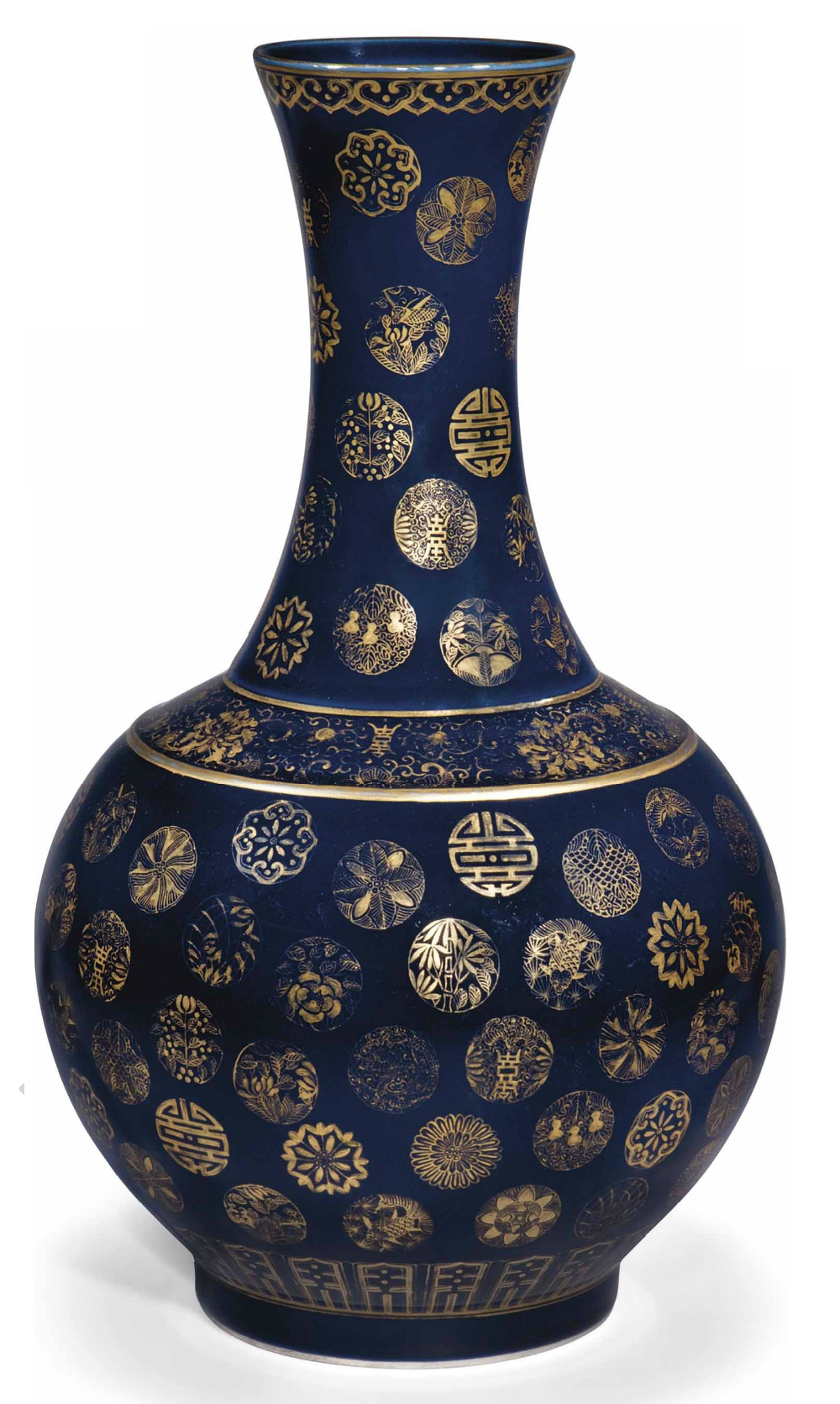 A chinese blue ground and gilt decorated bottle vase 20th century a chinese blue ground and gilt decorated bottle vase 20th century the bomb body and tall flaring neck decorated with scattered gilt medallions of flowers reviewsmspy