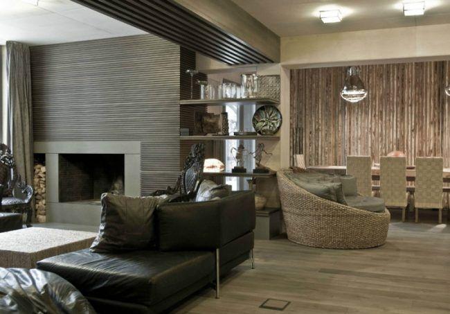 wohnzimmer-wande-ideen-modern-holz-wandplatten-kamin Flachdach - wohnzimmer ideen modern