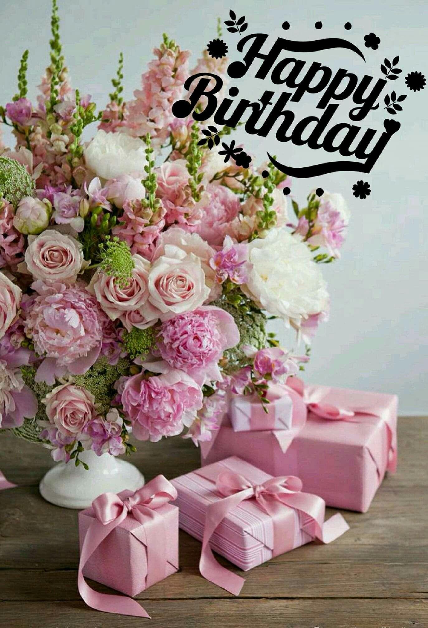 Pin By Jennifer Cabrera On Birthday Wishes Pink Flower Arrangements Birthday Flowers Arrangements Happy Birthday Flower