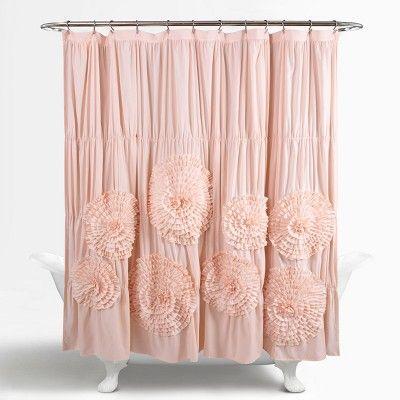 Serena Shower Curtain Blush Pink Lush Decor Pink Shower Curtains