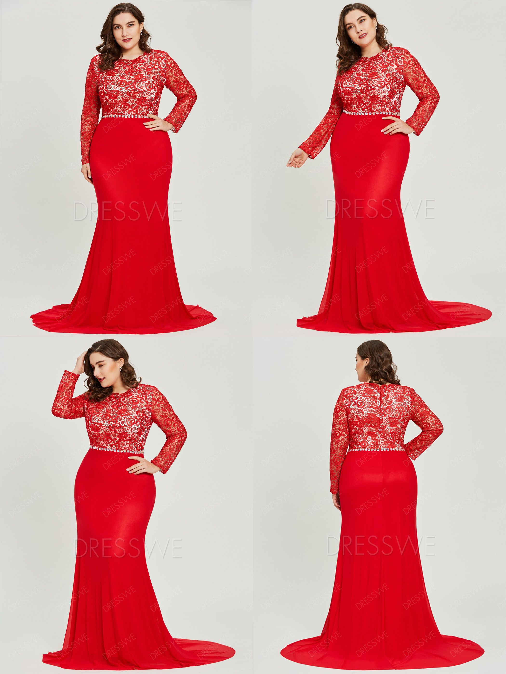 Scoop neck long sleeves lace mermaid plus size evening dress in