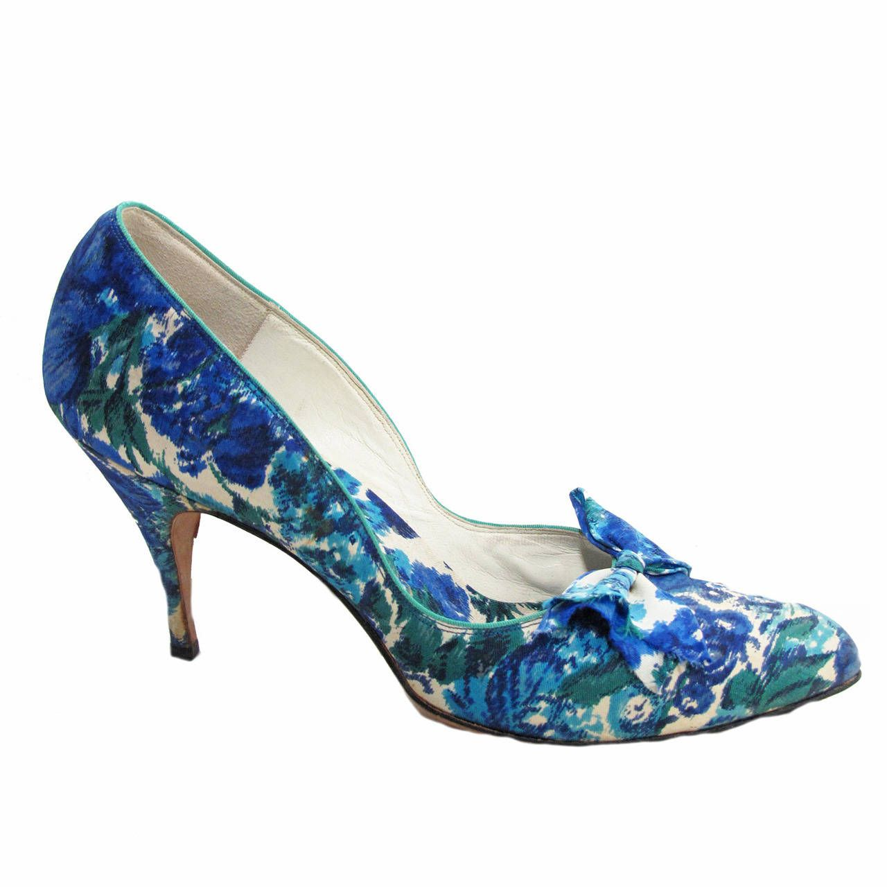 22aba7ca8 1950s Christian Dior Blue Floral Heels | See more vintage Shoes at https://
