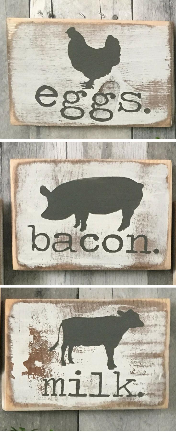 SET of signs Farmhouse Kitchen Signs decor Farmhouse animals