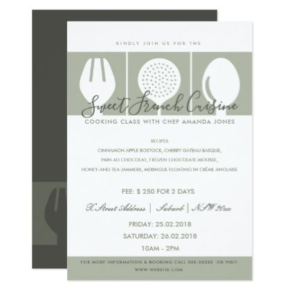 Grey spoon fork cookery class invite template - business invitations templates