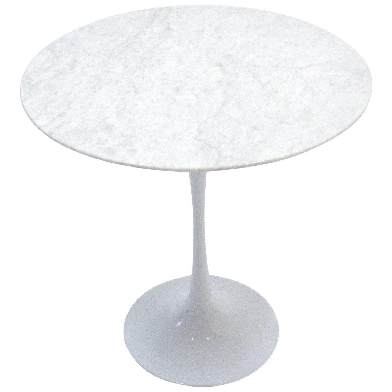 carrara marble tulip side table in the manner of eero saarinen