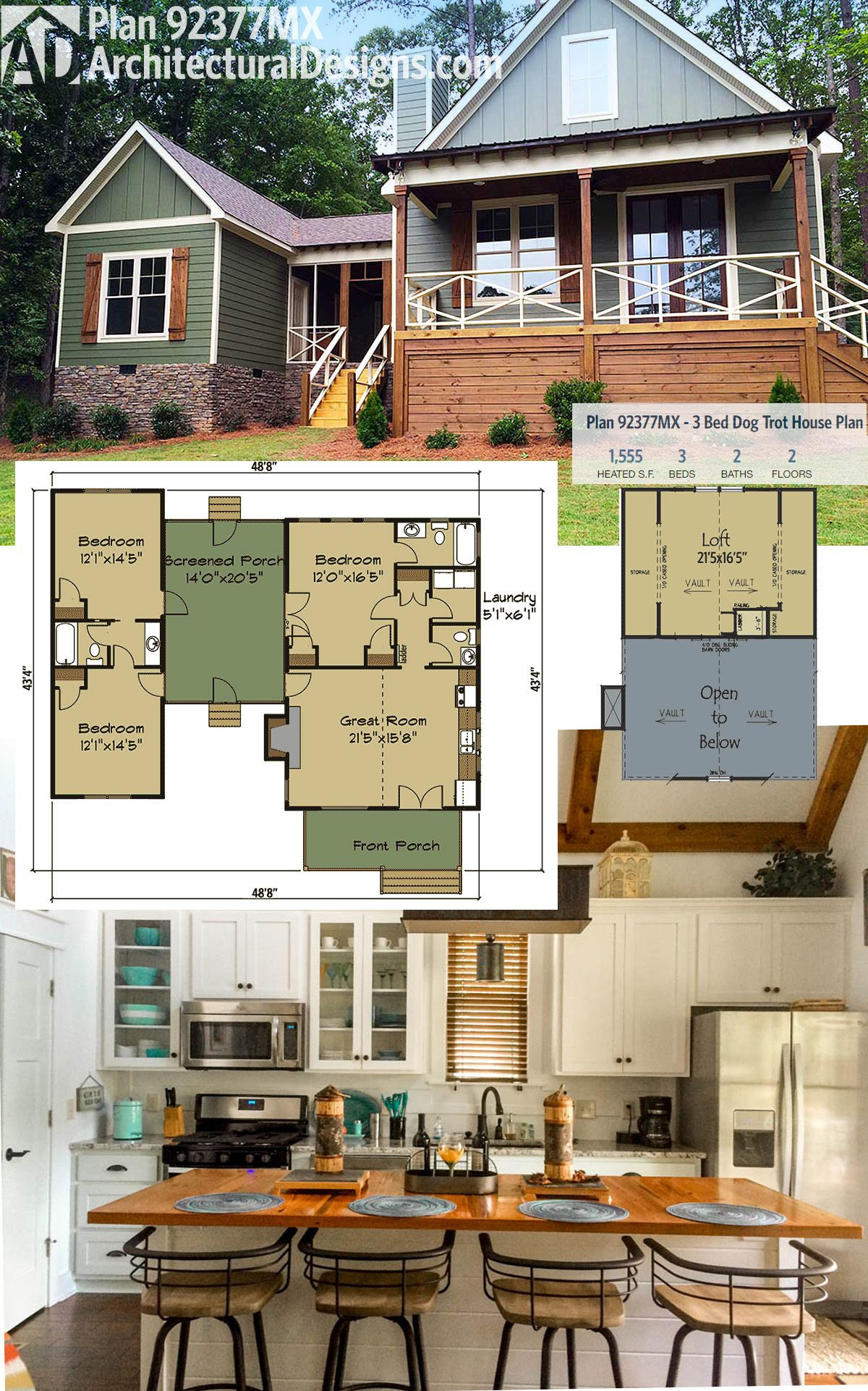 Plan 92377mx 3 bed dog trot house plan with sleeping loft for Great small house plans