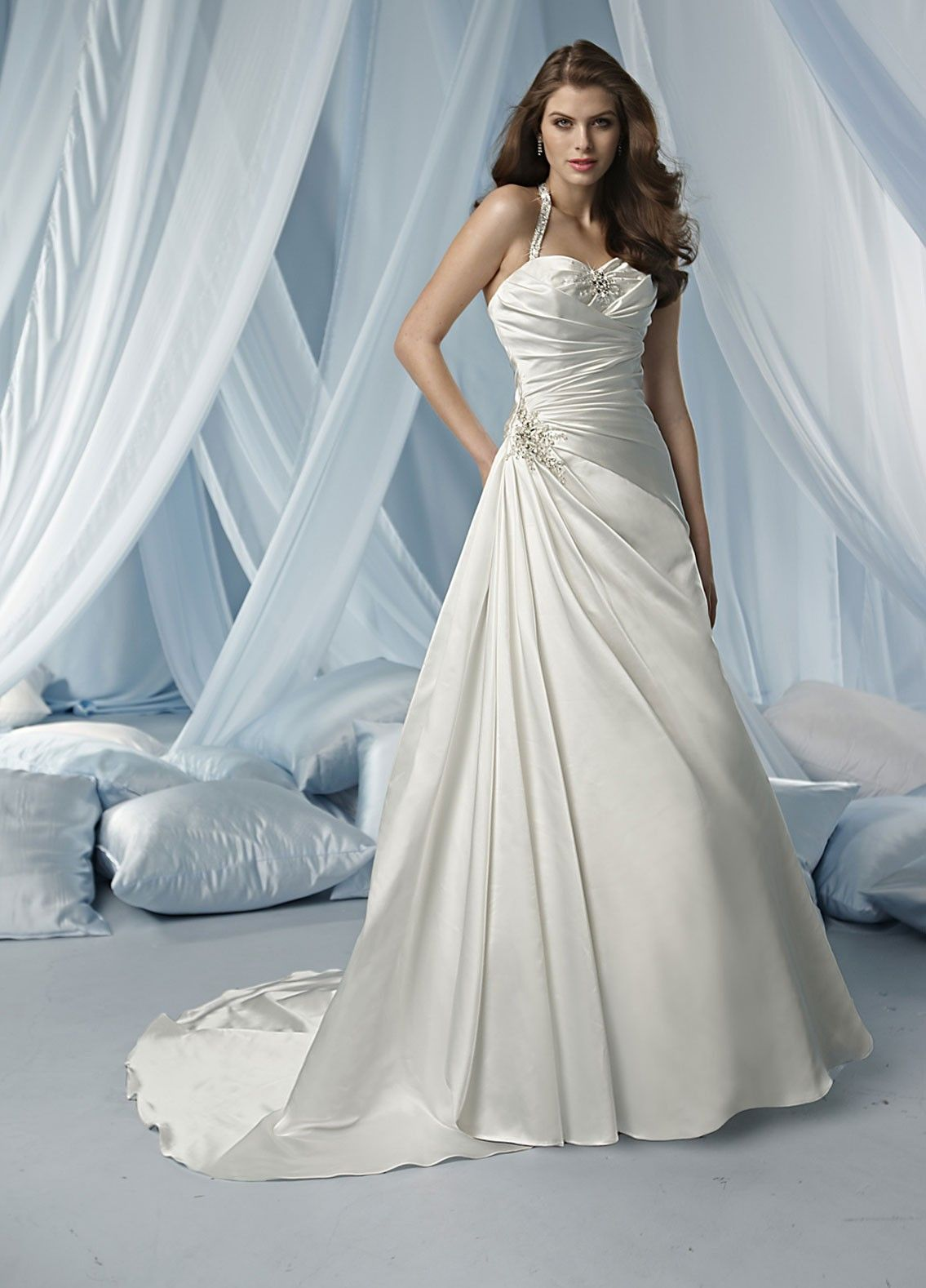 Satin Modified Sweetheart Gathered Bodice A-line Wedding Dress | A ...