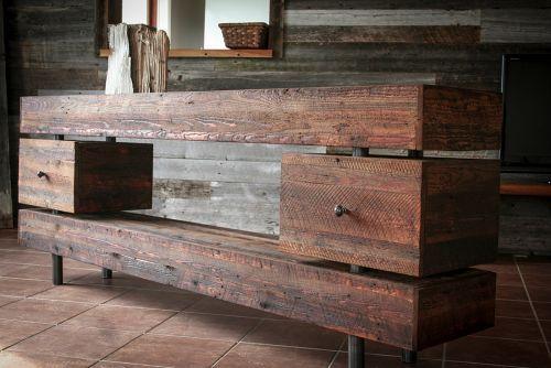 meuble console en bois de grange
