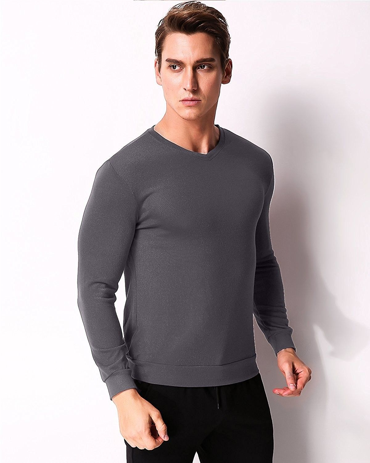8f0421c36 Men's Clothing, Shirts, Henleys,Men's Long Sleeve V Neck Tee Shirts  Polyester Casual Solid Color Tops - Dark Gray - CY17YH9DULR #Fashion #Shirts  #men ...