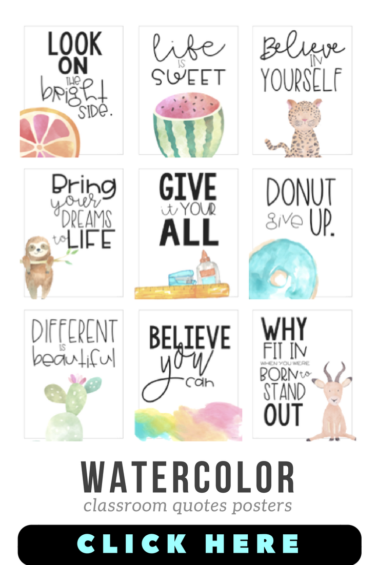 Classroom Posters – Inspirational Quotes (Watercolor)