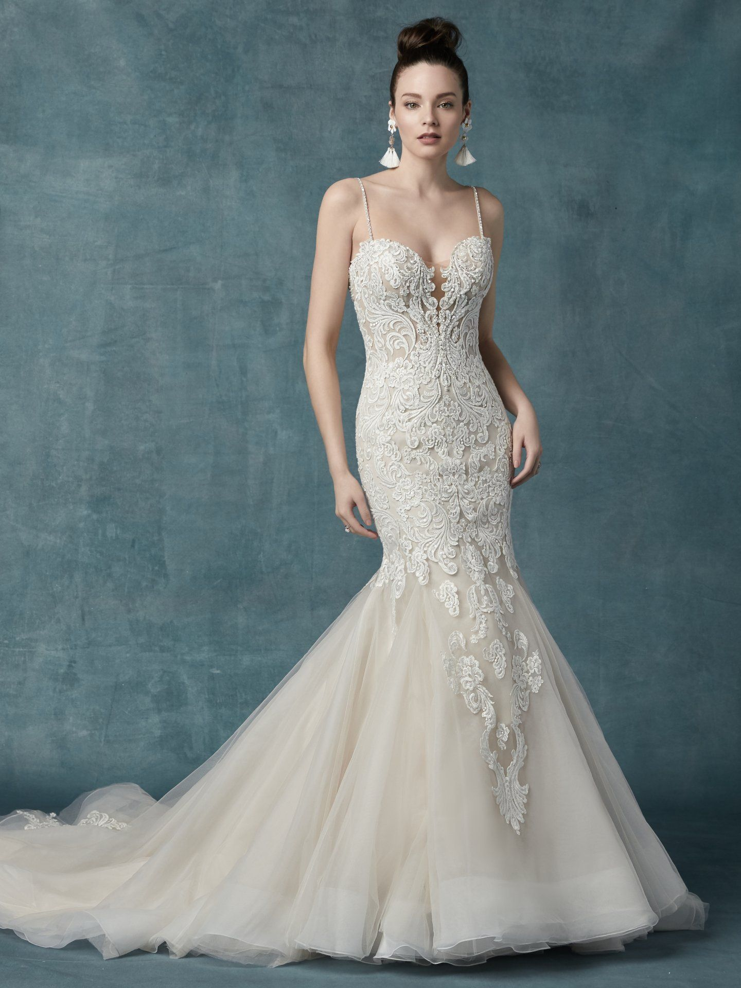 21228b14d Alistaire Wedding Dress Bridal Gown | Maggie Sottero This glamorous  fit-and-flare wedding gown features a bodice of lace motifs and sheer  detailing, ...
