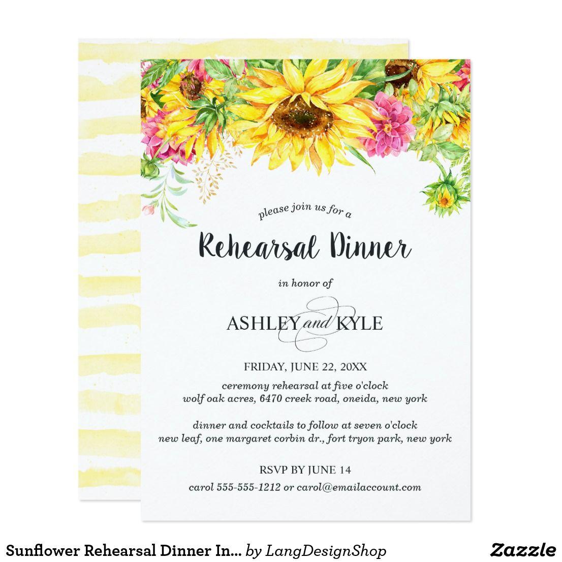 Sunflower Rehearsal Dinner Invitation | Pinterest | Rehearsal ...