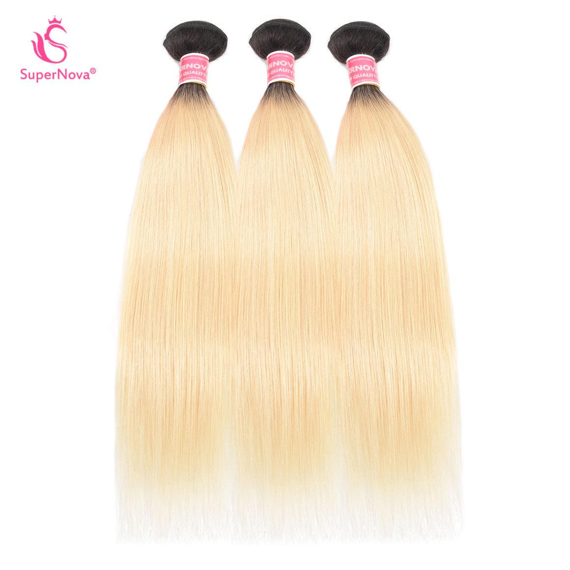 Brazilian Straight Ombre Color 1B/613 3 Bundles Virgin