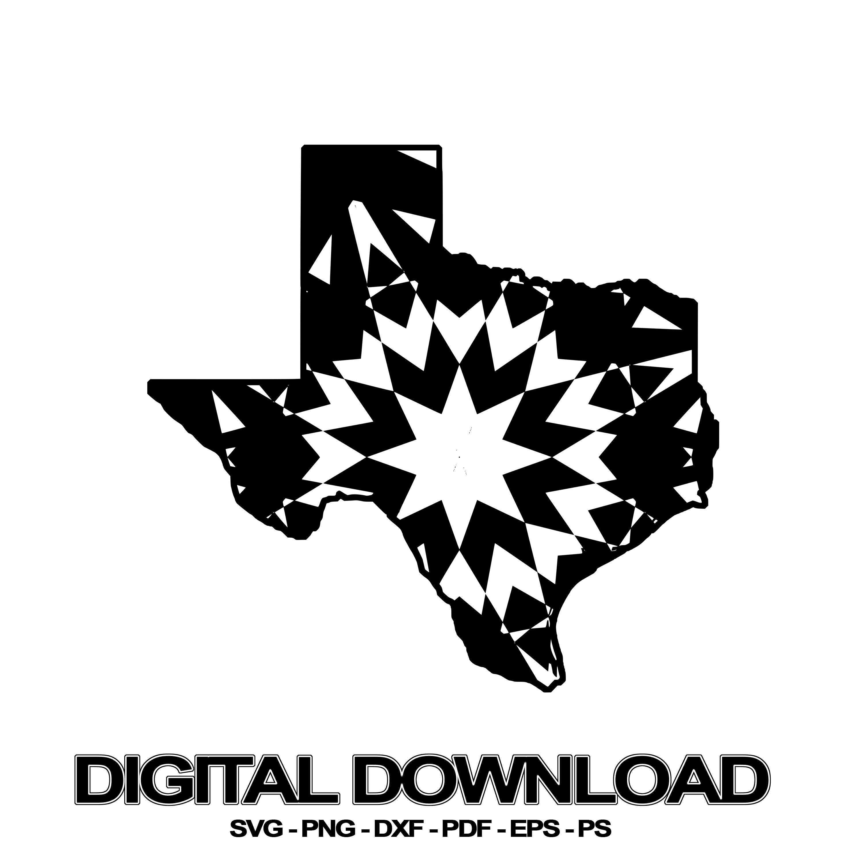 Texas Map Mandala Winter Edition SVG Digital Image Sell