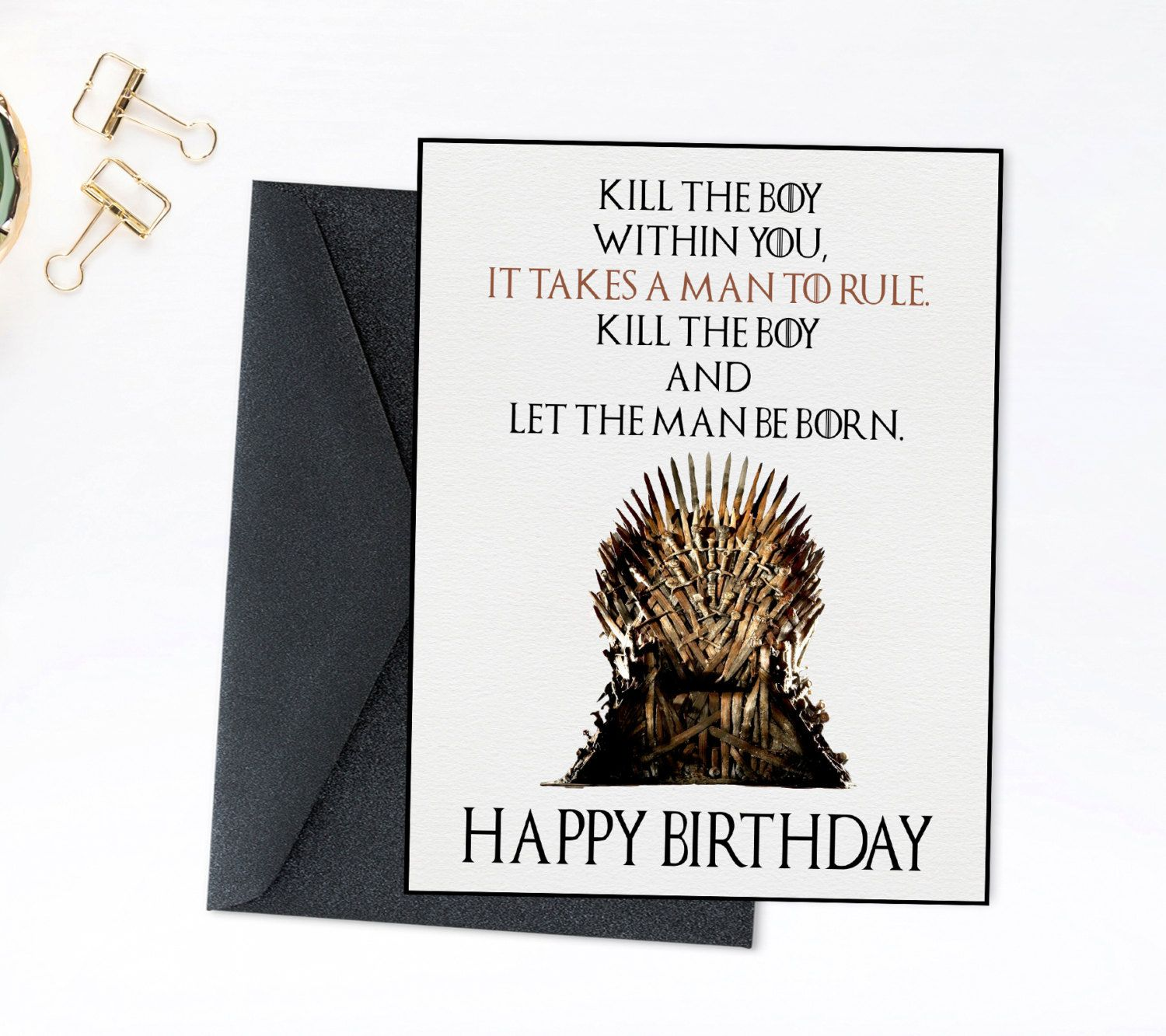 Game of Thrones Birthday Card Printable Birthday Throne Card