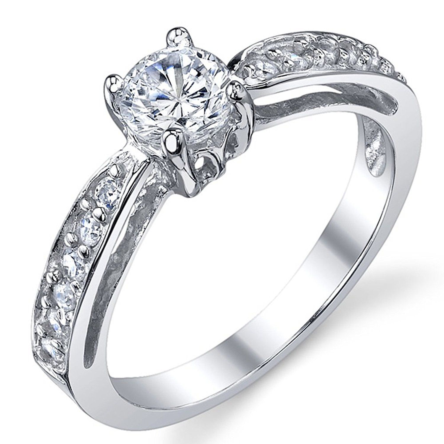 Sterling Silver 925 Wedding Engagement Ring with .50 Carat