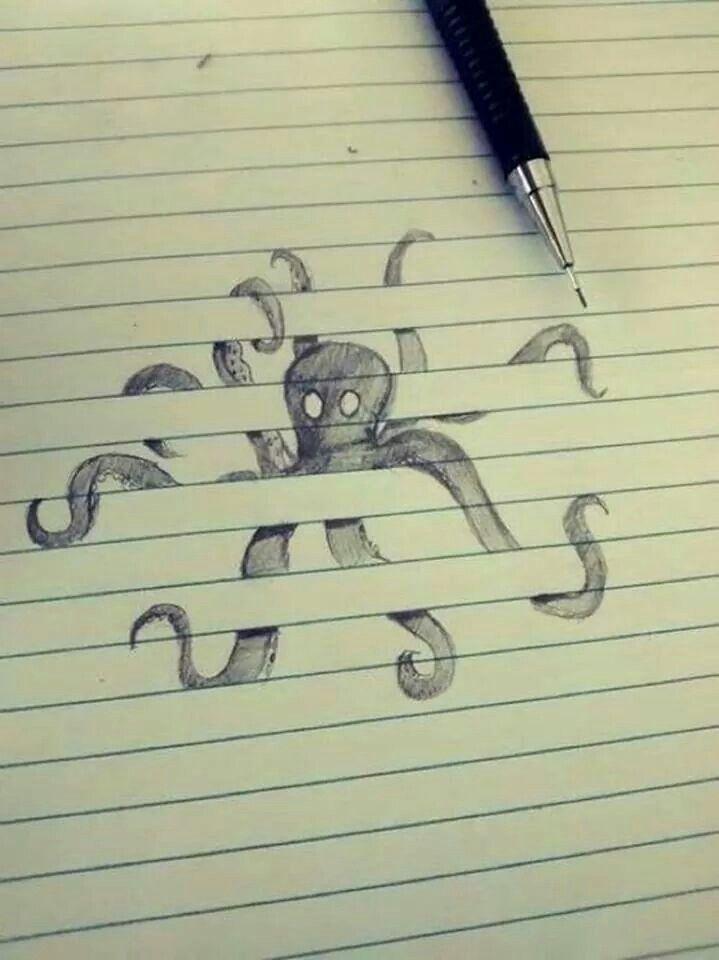 Optical illusion drawing on lined paper De todo un poco(Arte y - lines paper