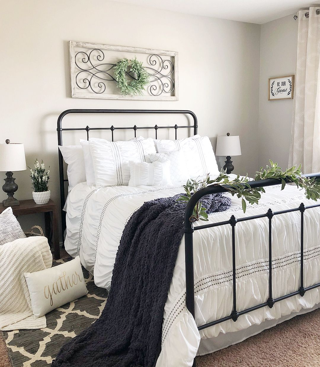 Farmhouse Bedroom With Rod Iron Bed White Bedding Home Decor