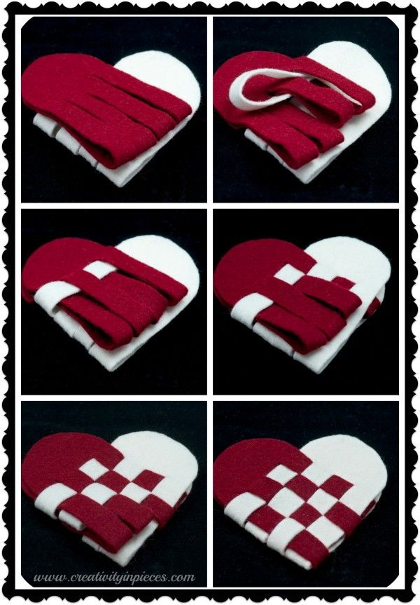 felt heart weaving I always made with red and white construction paper for valentine cookie