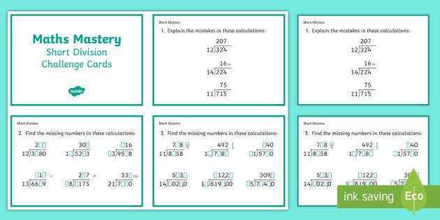 Year 6 Calculation Short Division Maths Mastery Challenge Cards ...