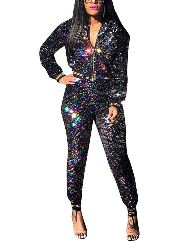 Women Long Sleeves Color Blocking Sequins Zipper Casual Club Short Jacket Tops