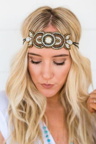 New boho hippy beaded handmade elastic Head Piece Headband
