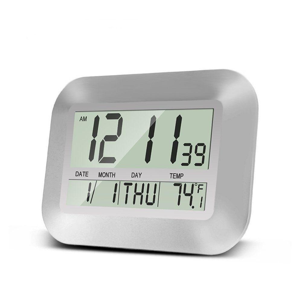 Heqiao Slim Large Lcd Alarm Clock Digital Calendar Day Clock Wall Clock Silent Desk Shelf Clocks Battery Operated For Home Clock Digital Wall Wall Clock Silent